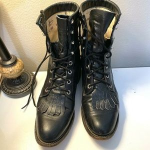 Vintage Justin Womens Lace Up Boots Black Leather